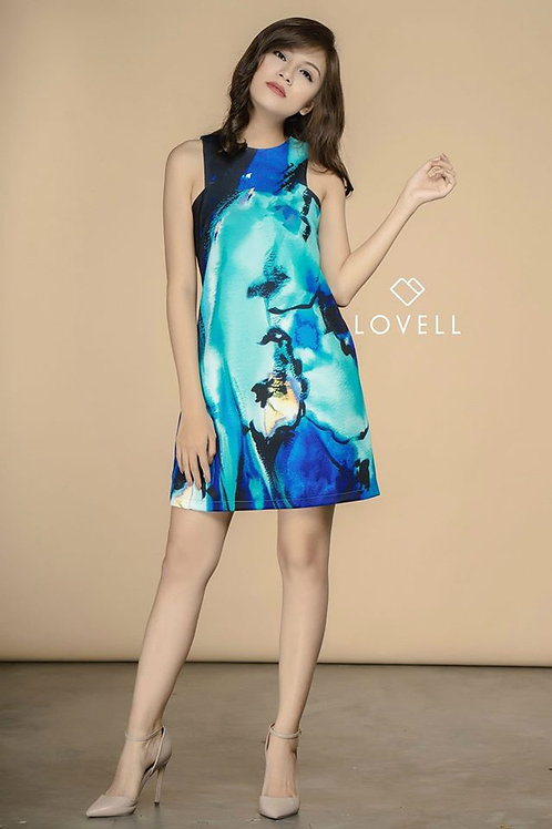 PRINT SHIFT DRESS-BLUE