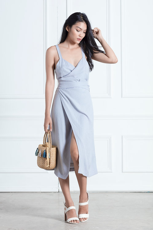 Strappy Wrap Dress - Grey
