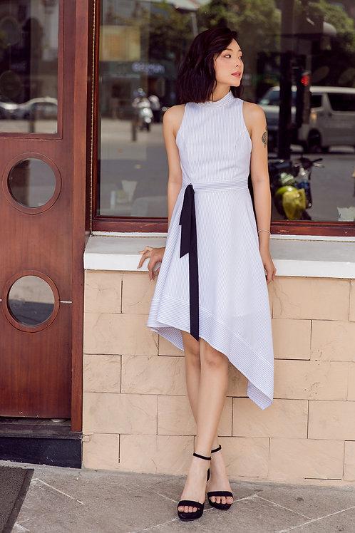 Asymmetrical Stripe Dress - White