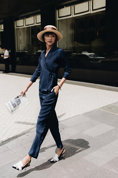 Baggy pants with belt - Navy
