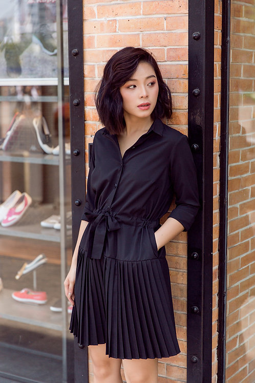 Shirt Dress With Pleated - Black