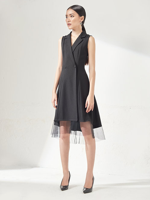 Vest Dress With Sheer - Black