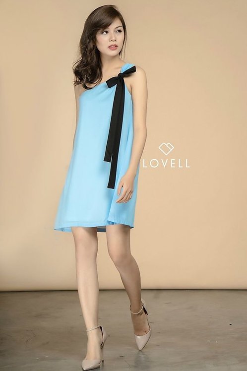 ONE SHOULDER DRESS-BLUE