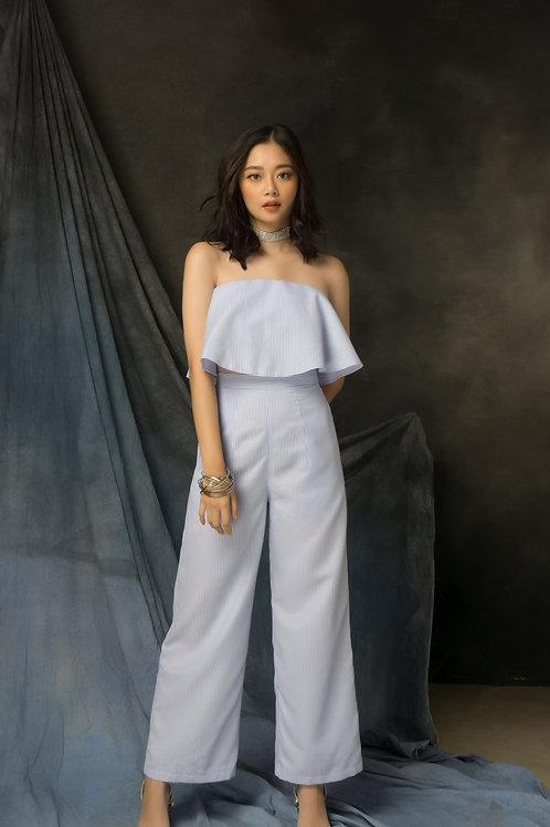 Wide Leg Pants - Blue Stripes