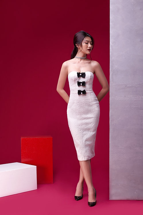 Tube Dress With Bow Detail - White