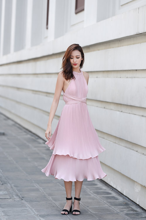 Pleated layered dress - Pink