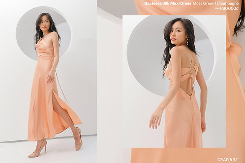 Silk Backless Dress -Champagne