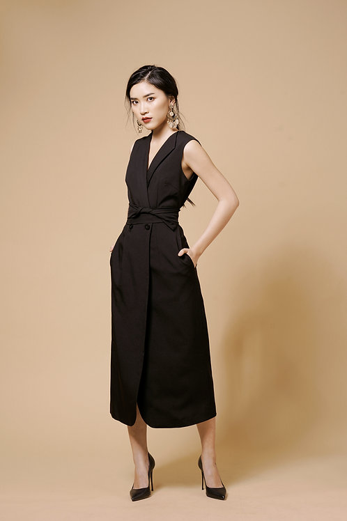 Long Vest Dress - Black