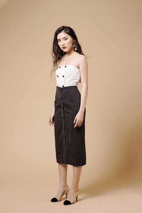 Buttoned Down Skirt - Black Stripes