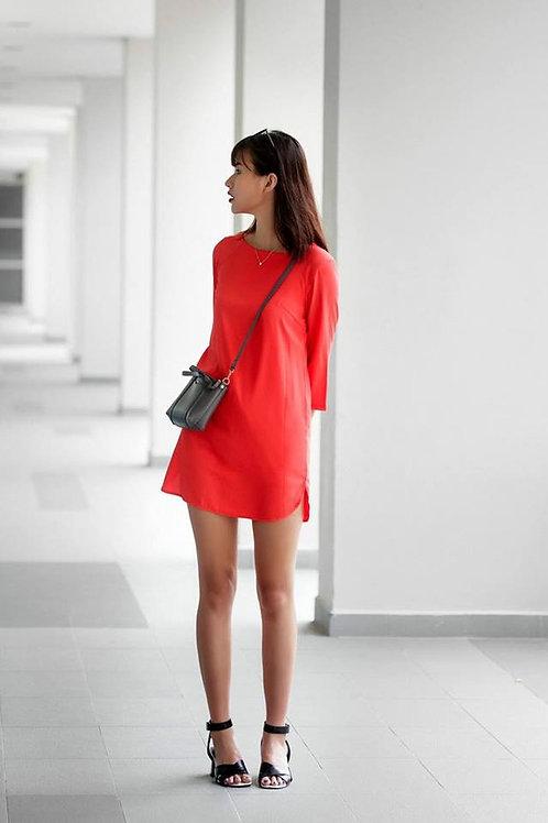 SILK SHIFT DRESS-ORANGE