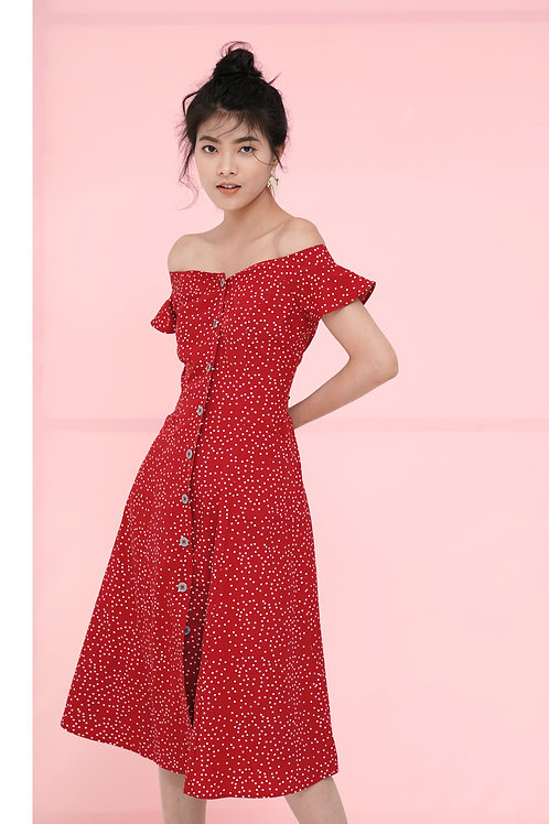 Off Shoulder Midi Dress - Red poka dot