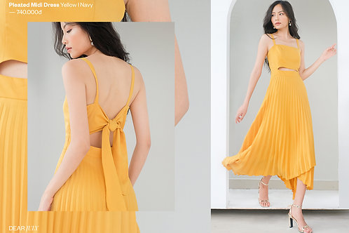 Pleated Midi Dress - Yellow