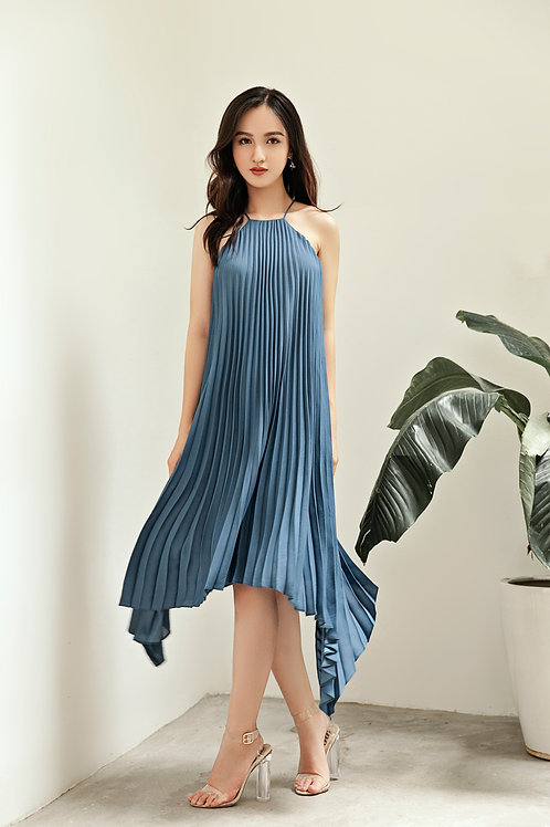 Pleated Hi-lo Dress - Blue Aegean