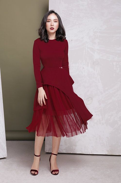 Long Sleeve Dress With Sheer - Red