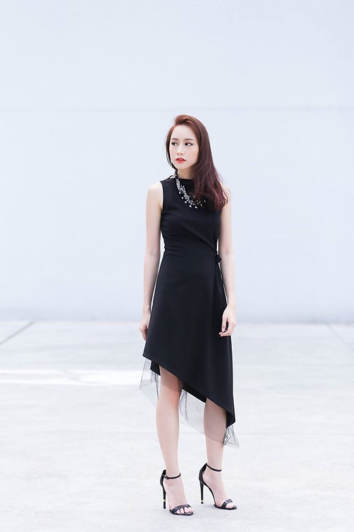 Asymmetrical Skater Dress-Black
