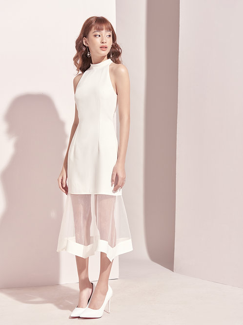 High Neck Dress With Sheer