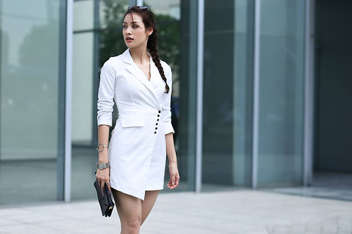 ASSYMETRIC VEST DRESS-WHITE