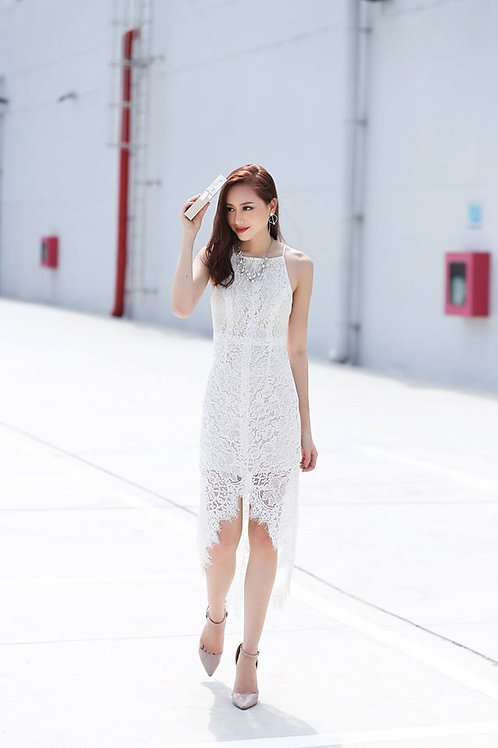 High Low Lace Maxi Dress - White