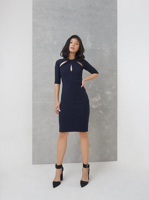 Twisted Neckline Knit Dress - Navy