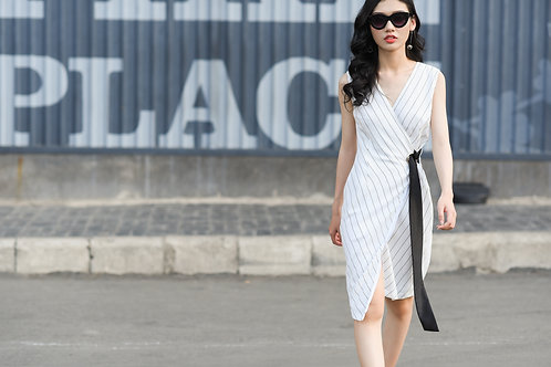 WRAP DRESS WITH RING - WHITE STRIPES