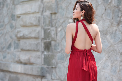 Pleated layered dress - Red