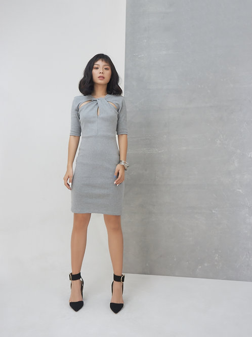 Twisted Neckline Knit Dress - Grey