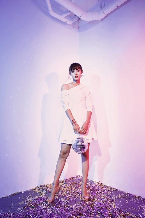 Asymmetrical Skater Dress - White