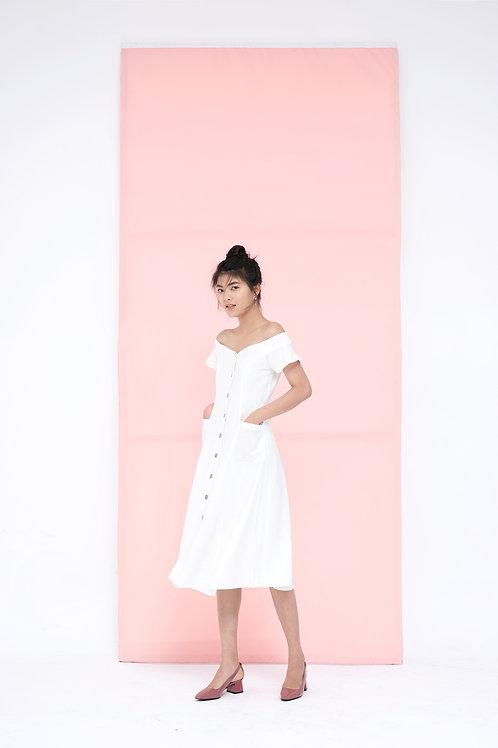 Off Shoulder Midi Dress - White