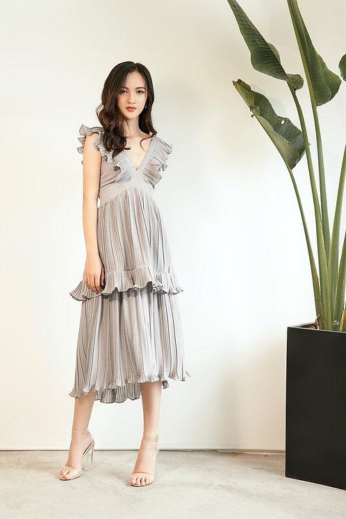Pleated Ruffle Dress - Grey