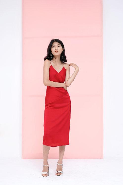 Silk Slip Dress - Red