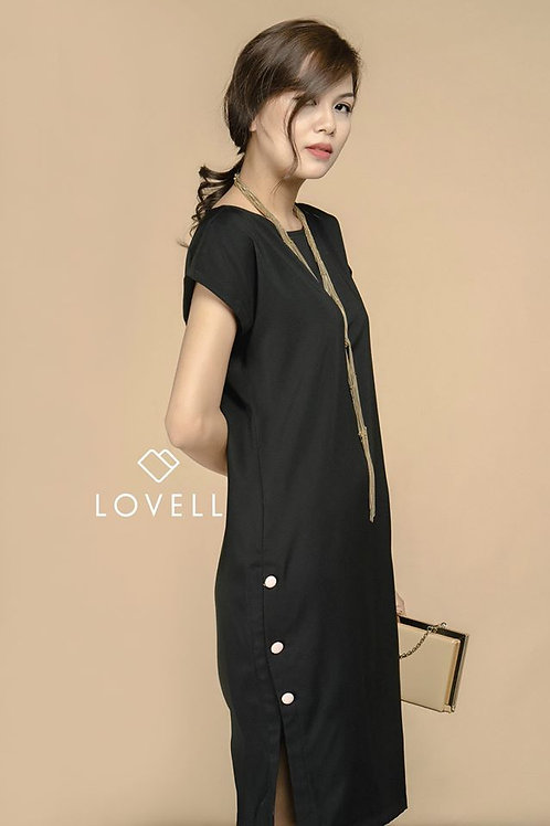 COLUMN DRESS WITH SIDE BUTTONS-BLACK
