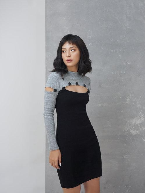 Long Sleeve Knit Dress - Grey