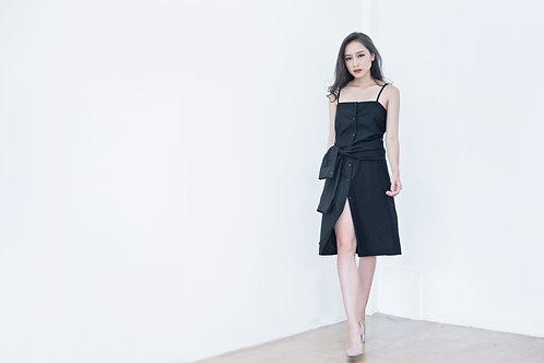 STRAPPY SHIRT DRESS-BLACK
