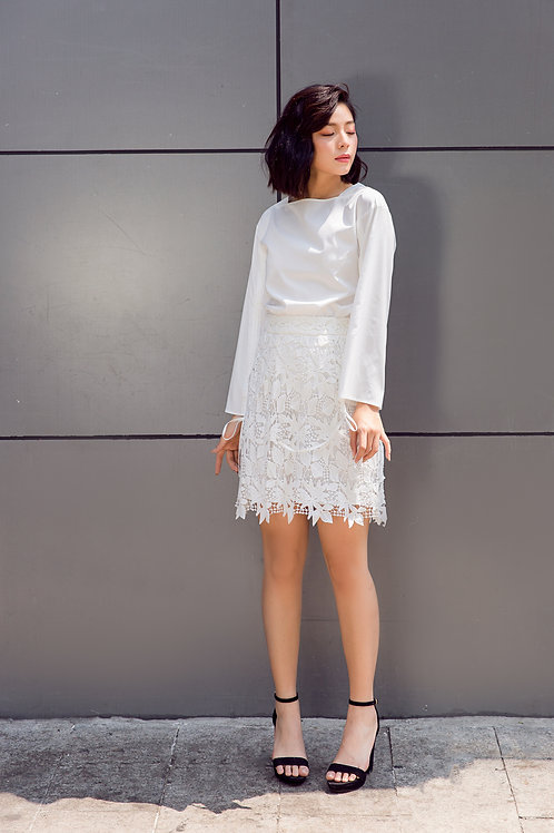 Lace A Line Skirt - White