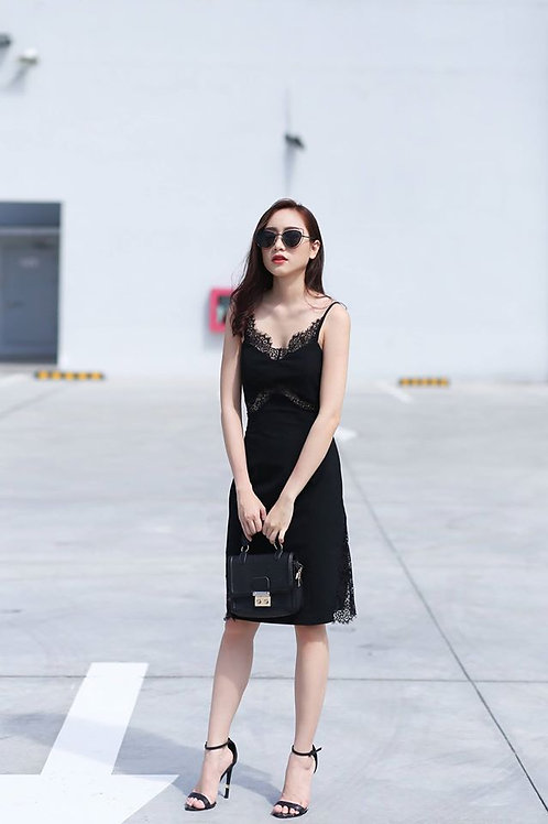 Lace Inserted Cami Dress - Black