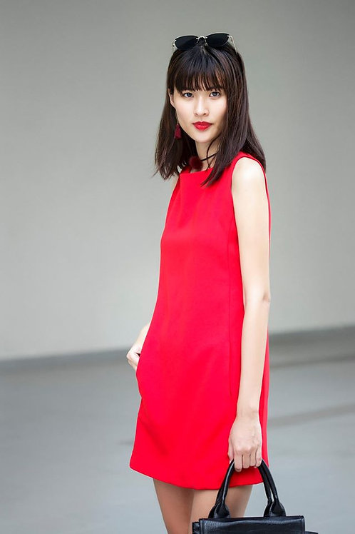 SHIFT DRESS-RED