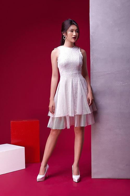 Skater Tweed Dress With Sheer - White