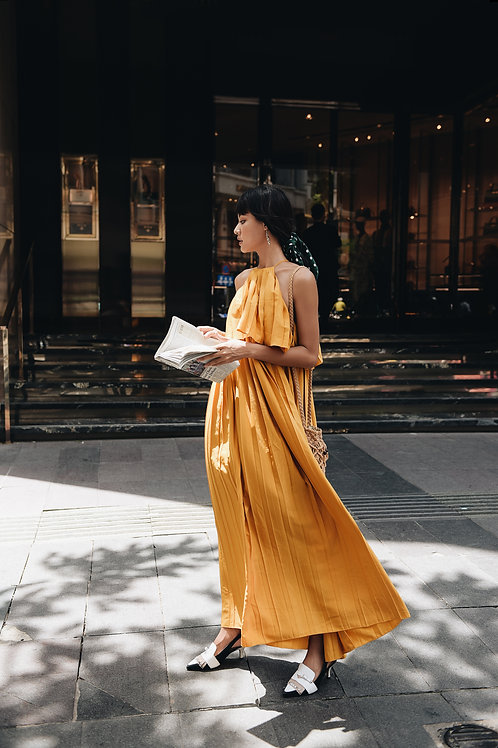 Maxi Pleated Dress - Yellow