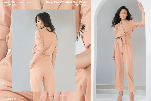 Baggy pants with belt - Nude