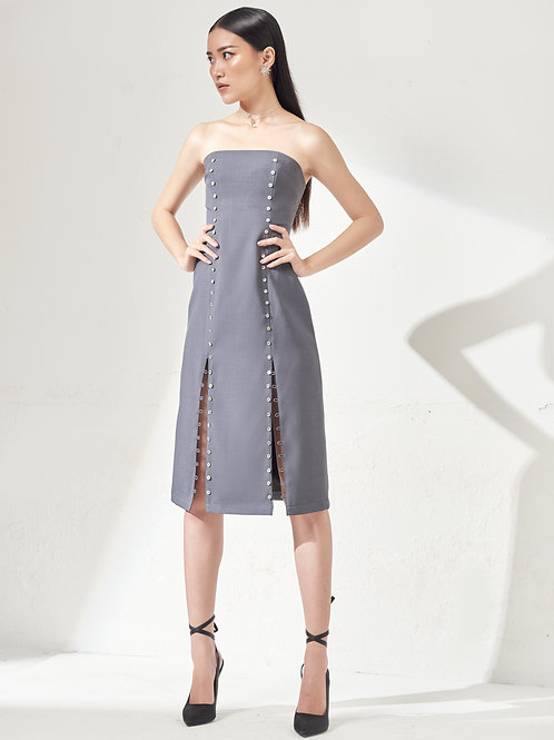Tube Dress With Button Details - Cerulean Blue