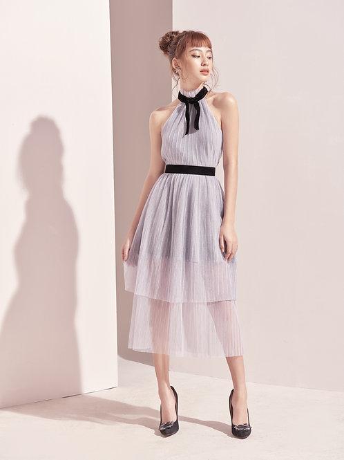 2 Layers mesh dress with velvet - Grey