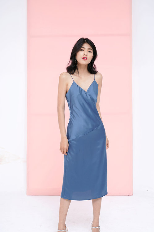 Silk Slip Dress - Steel Blue