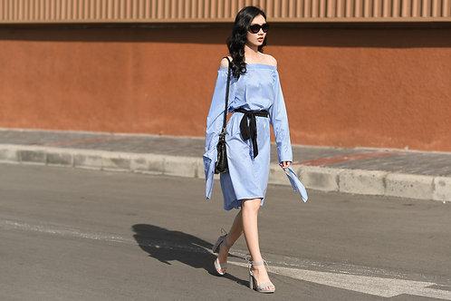 BELL SLEEVE OFF SHOULDER DRESS - BLUE STRIPES