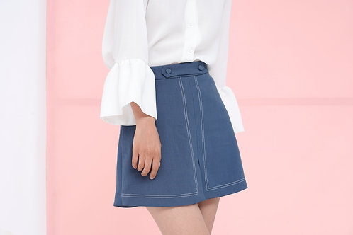 A-line Mini Skirt - Steel Blue