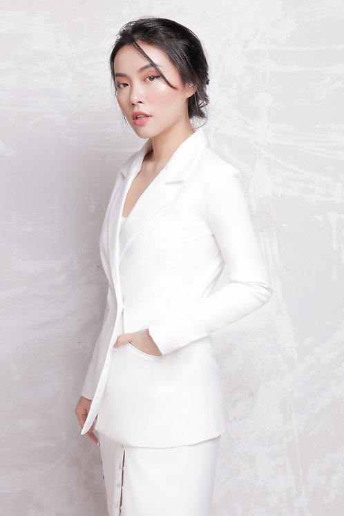 Blazer With Button - White