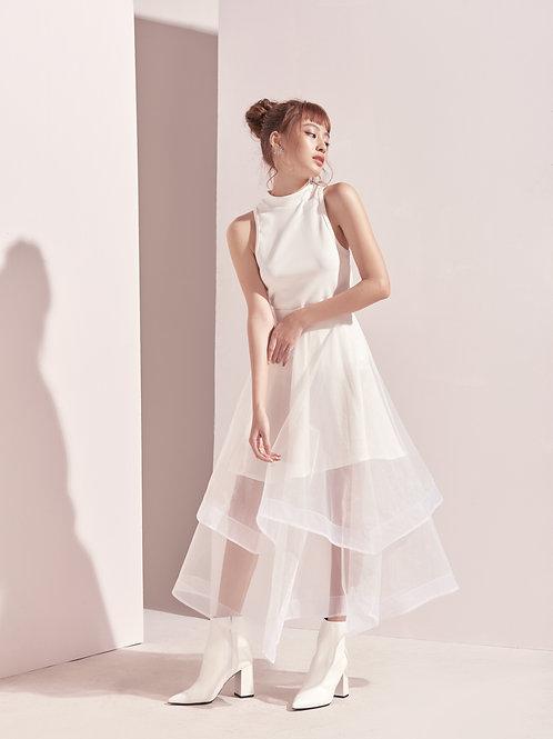 Sheer Full Skirt - White