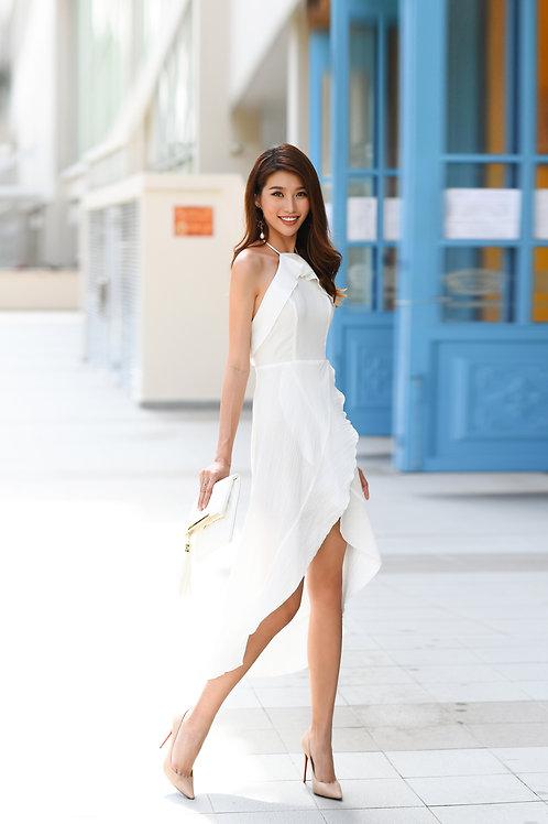 Backless Ruffle Dress - White