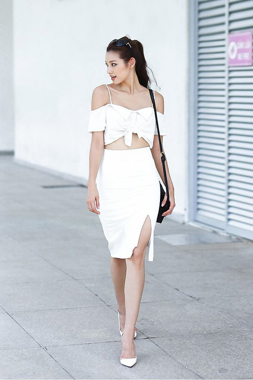 SLIT SKIRT WITH BELT-WHITE