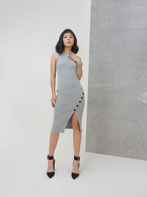 Midi Knit Dress With Buttons - Grey