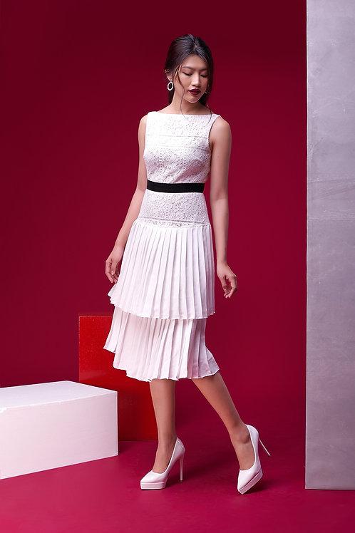 Lace Dress With Velvet Detail - White